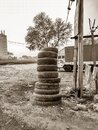 Stacked tyre at road side tyre change Royalty Free Stock Photo
