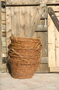 Stacked wicker baskets Stock Photo