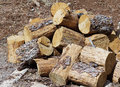 Stacked wood for the stove in yard Royalty Free Stock Images