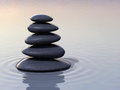 Stacking zen stones on water d render close up Stock Photo