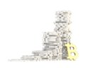 Stacks of bitcoin signs isolated