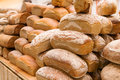 Stacks of bread stacked loaves fresh delicous Royalty Free Stock Photos