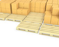 Stacks of cardboard boxes on a pallets Stock Photo