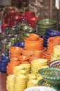 Pile of ceramic bowls of various sizes and colors Royalty Free Stock Photo