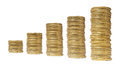 Stacks chart coins isolated of gold on white background Stock Photo