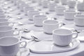 Stacks of coffee cups with silver teaspoons Royalty Free Stock Photo