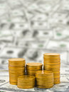 Stacks of coins on money abstract business background Stock Photos