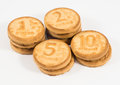 Stacks of cookies as the ruble coins rating one, two, five, ten Royalty Free Stock Photo