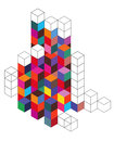 Stacks of d cubes illustration stacked in a grid with a white background Stock Image