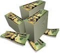 Stacks of Dollars Stock Image