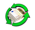 Stacks of euro recycling Royalty Free Stock Images
