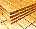 Stacks of gold bars Stock Images