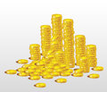 Stacks of gold coins Royalty Free Stock Images