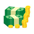 Stacks of gold coins and dollar cash. Vector illustration in fla