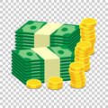 Stacks of gold coins and stacks of dollar cash. Vector illustrat