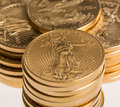 Stacks gold eagle one troy ounce golden coins us treasury mint Stock Image