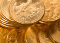Stacks gold eagle one troy ounce golden coins us treasury mint Stock Photos