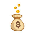Stacks of gold money coins bag income profits cash wealth concept banking sign and payment exchange growth economy