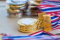Stacks of gold, silver, and bronze medals Royalty Free Stock Photo