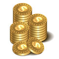 Stacks of golden coins vector illustration isolated on a white background Stock Photo