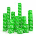 Stacks of green cubes with percents Royalty Free Stock Photos