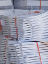 Stacks of paper at a printshop Royalty Free Stock Photo