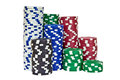 Stacks of poker chips including red, black, white, green and blu Royalty Free Stock Photo