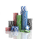 Stacks of poker chips. Royalty Free Stock Photo