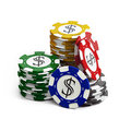 Stacks of poker chips Royalty Free Stock Photo