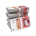 Stacks of 50 Pound Banknotes