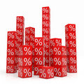Stacks of red cubes with percents Royalty Free Stock Photography