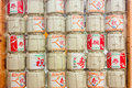 Stacks Of Sake Japanese Barrels Background With Kanji Letter Mea Royalty Free Stock Photo