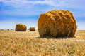 Stacks of straw on sloping wheat field the is a big stack Stock Photography