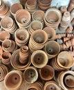 Stacks of terracotta plant pots Royalty Free Stock Photo