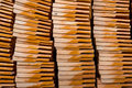 Stacks of terracotta roof tiles Royalty Free Stock Photo