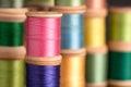 Stacks of Vintage Thread Spools Royalty Free Stock Photo