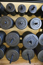 Stacks of weights at gym. Royalty Free Stock Image