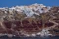 Stad van oia santorini tira island cycladen Stock Foto