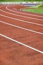 Stadion und laufende Spur Stockfotos