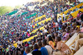 Stadium in bamako filled with many children looking at a soccer mali january crowed match during the inter scholarship Royalty Free Stock Image