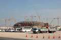 Stadium construction in qatar of a the desert of middle east Royalty Free Stock Images