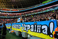 Stadium crowd ultras of fans the photo has taken during a soccer match shakhtar donetsk vs dnipro dnipropetrovsk on the donbass Royalty Free Stock Photos