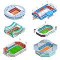 Stadium icons set sport isometric with football and hockey stadiums vector illustration Stock Photos