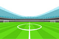 Stadium midfield view with clear white sky vector Royalty Free Stock Photo