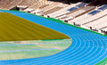 Stadium running track cityscape in a sunny day Royalty Free Stock Photography