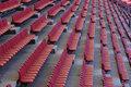 The stadium seats red in gallery of Stock Images
