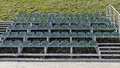 Stadium seats rows of green color chairs in the Royalty Free Stock Image