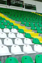 Stadium seats rows of green white plastic in empty Royalty Free Stock Images