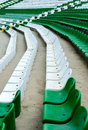 Stadium seats rows of green white plastic in empty Royalty Free Stock Photography