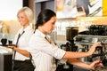 Zamestnanci na kaviareň tvorba káva stroj